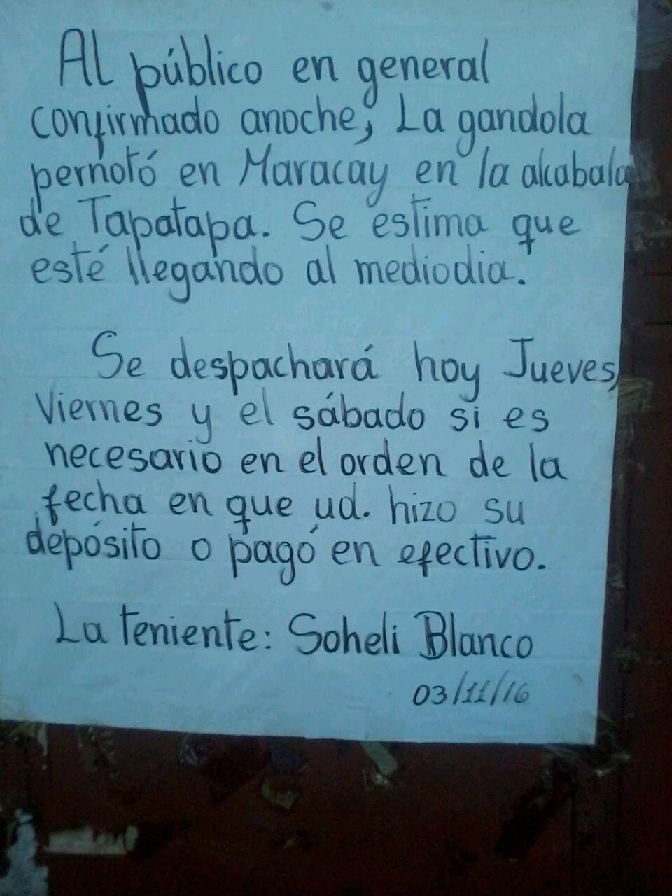 Aviso de la Teniente en la sede de la Milicia en Rio Chico, ante la inquietud por el retraso de la comida. A esta fecha aun sin honrar la promesa