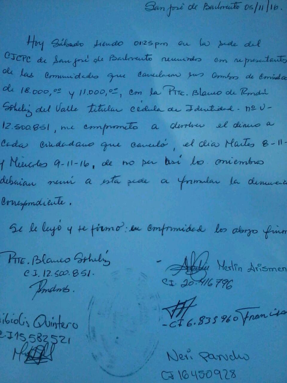 Acta compromiso suscrita por la Teniente de la Milicia en la sede del CICPC de San Jose de Río Chico