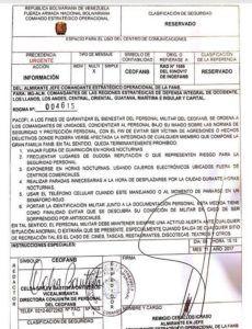 Radiograma emitido a inicios de noviembre en donde ordenan al personal militar abstenenerse de viajar en carretera y usar los cajeros automáticos de noche. Documento obtenido por el Nuevo Herald.