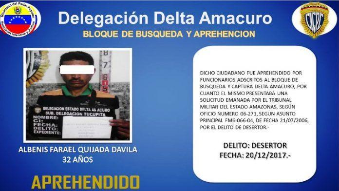 Cicpc Delta atrapa desertor de las FANB