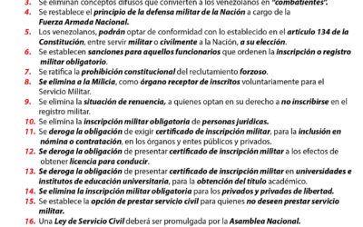 Lineamientos para una Reforma Legal que Elimine la Inscripción Militar Obligatoria en Venezuela